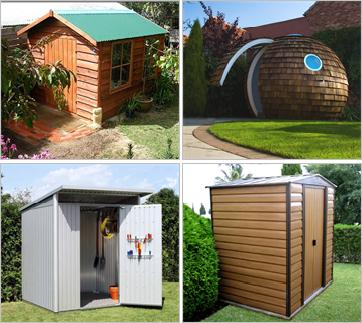 Garden sheds - 4 very different shapes and types